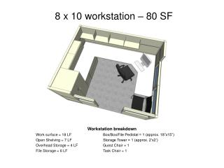 8 x 10 workstation – 80 SF