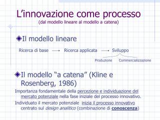 L'innovazione come processo (dal modello lineare al modello a catena)