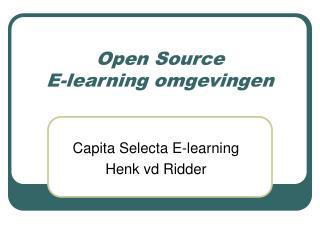 Open Source  E-learning omgevingen