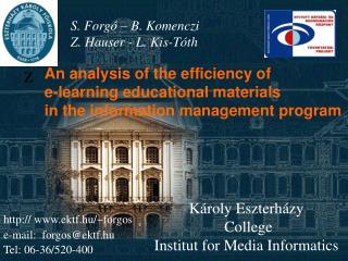 Károly Eszterházy  College  Institut for Media Informatics