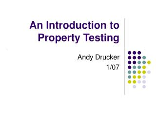 An Introduction to  Property Testing