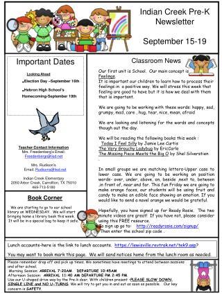 Indian Creek Pre-K Newsletter September 15-19