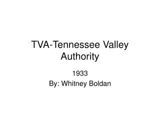 TVA-Tennessee Valley Authority