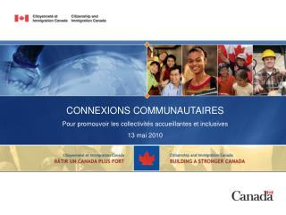 CONNEXIONS COMMUNAUTAIRES Pour promouvoir les collectivités accueillantes et inclusives