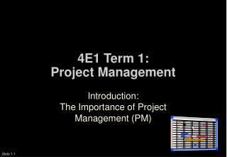 4E1 Term 1: Project Management