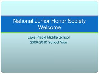 National Junior Honor Society Welcome