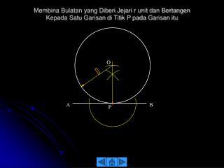 Membina Bulatan yang Diberi Jejari r unit  dan Bertangen kepada Dua Garisan