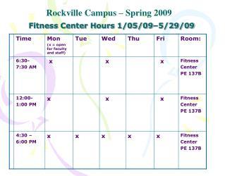 Fitness Center Hours 1/05/09–5/29/09