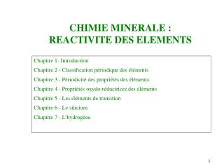 CHIMIE MINERALE :  REACTIVITE DES ELEMENTS