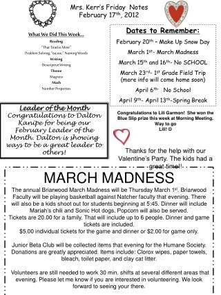 Mrs. Kerr's Friday  Notes February 17 th , 2012