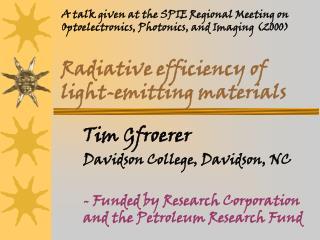 Radiative efficiency of light-emitting materials