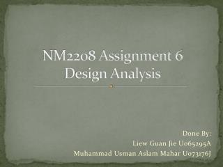 NM2208 Assignment 6 Design Analysis