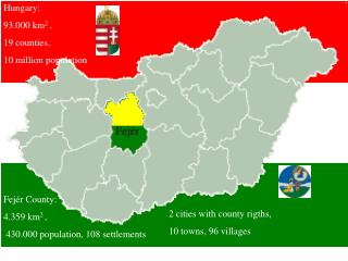 Hungary:    93.000 km 2  ,   19 counties,  10 million population