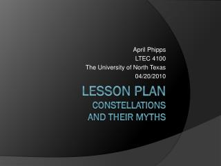 Lesson Plan Constellations  and their myths