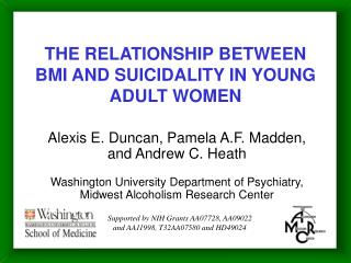 THE RELATIONSHIP BETWEEN BMI AND SUICIDALITY IN YOUNG ADULT WOMEN