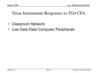 Texas Instruments Responses to TG4 CFA