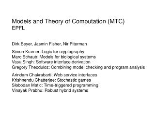 Models and Theory of Computation (MTC) EPFL