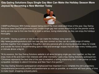 Gay Dating Solutions Says Single Gay Men