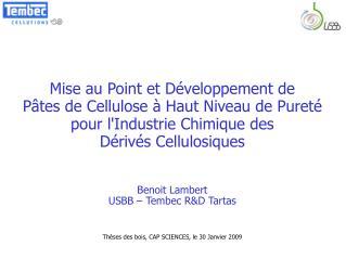 Mise au Point et Développement de  Pâtes de Cellulose à Haut Niveau de Pureté