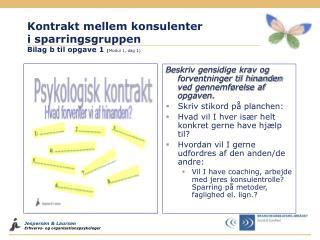 Kontrakt mellem konsulenter i sparringsgruppen Bilag b til opgave 1  ( Modul 1, dag 1)