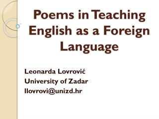 Poems in Teaching English as a Foreign Language