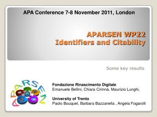 APARSEN WP22   Identifiers and Citability