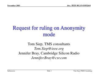 Request for ruling on Anonymity mode