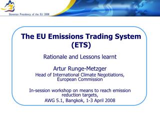 The EU Emissions Trading System ETS
