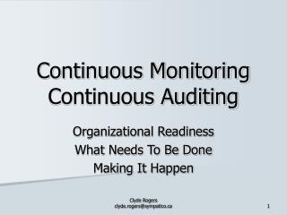 Continuous Monitoring  Continuous Auditing