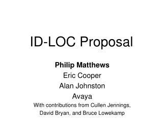 ID-LOC Proposal
