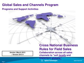 Global Sales and Channels Program Programs and Support Activities