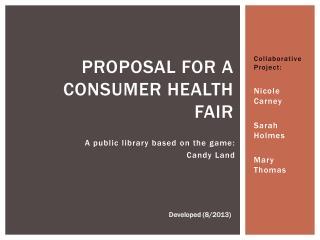 Proposal for a consumer health fair