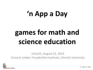 �n App a Day games for math and science education