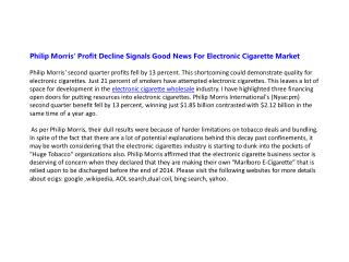 Philip Morris' Profit Decline Signals Good News For Electron