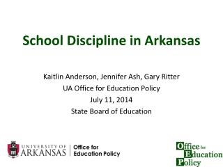 School Discipline in Arkansas