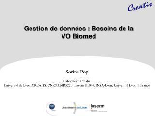Gestion de données : Besoins de la  VO  Biomed