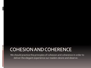 Cohesion and coherence