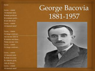 George Bacovia 1881-1957