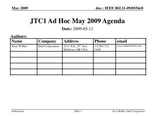 JTC1 Ad Hoc May 2009 Agenda