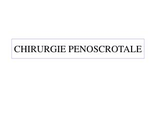 CHIRURGIE PENOSCROTALE