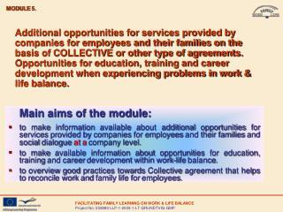Main aims of the module: