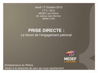 PRISE DIRECTE : Le forum de l'engagement patronal