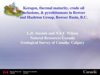 L.D. Stasiuk and N.S.F. Wilson Natural Resources Canada Geological Survey of Canada: Calgary