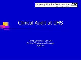 Clinical Audit at UHS