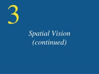 Spatial Vision (continued)