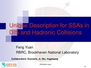 Unique Description for SSAs in DIS and Hadronic Collisions