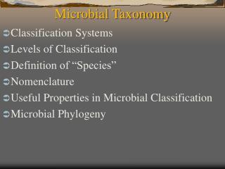 Microbial Taxonomy