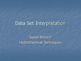 Data Set Interpretation