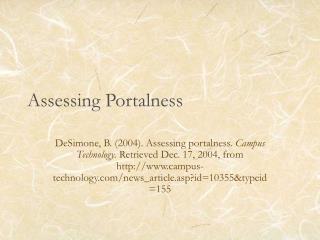Assessing Portalness
