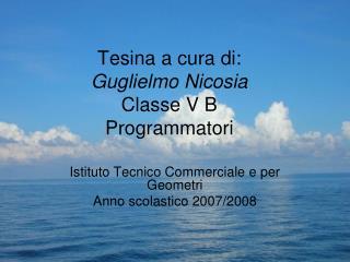 Tesina a cura di: Guglielmo Nicosia Classe V B  Programmatori